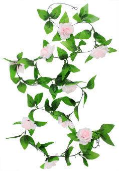 Leegoal เถาวัลย์ห้อยผ้าประดิษฐ์ดอกกุหลาบดอกไม้การตกแต่ง ชมพูอ่อน (ในประเทศ)