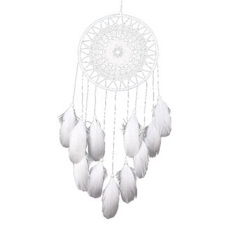 Harga White Handmade Lace Dream Catcher Feather Bead Hanging Decoration