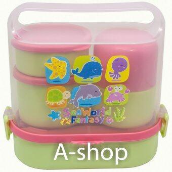 A-shop ชุดกล่องใส่อาหารเด็ก พกพา ลาย SEA WORLD FANTASY (Green/Pink)