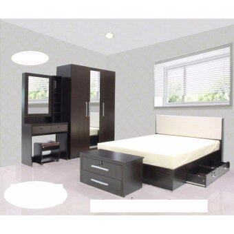 RF Furniture ชุดห้องนอน DD รุ่น Milan Set ขนาด 6 ฟุต เตียง 6 ฟุต + ตู้เสื้อผ้า 3 บาน + โต๊ะแป้ง 80 cm ( สีโอ๊ค )