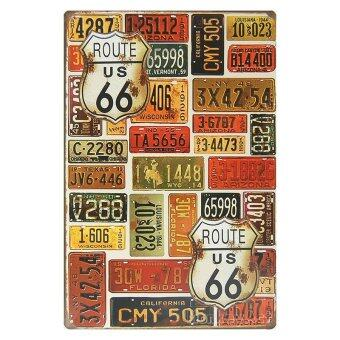 MonkeyAct ป้ายสังกะสีวินเทจ Route US 66 and Auto License Plate