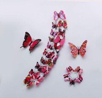 (1 ชุด=24ชิ้น) ศิลปะการออกแบบพีวีซีสี 3D สติ๊กเกอร์ติดผนังแม่เหล็กพลาสติกผีเสื้อ (สีกุหลาบแดง)