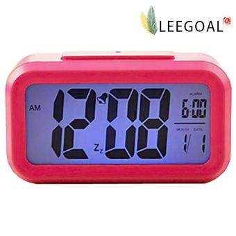 Leegoal สีน้ำเงินสว่างกลางคืนเงียบสงัดนาฬิกาปลุกดิจิตอลแสดงผลซ้ำวันงีบ (Roseo)