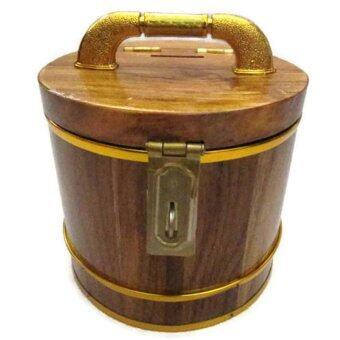 ถังเงิน ถังทอง กระปุกออมสิน ไม้สัก ทรงกลม 7 นิ้ว