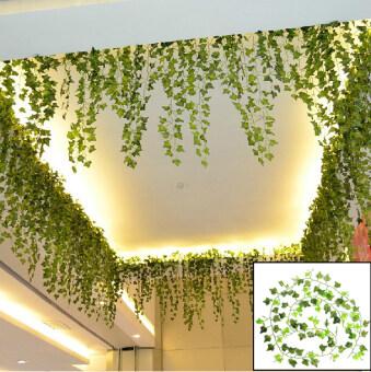 249.94ซมสีเขียวใบไม้เถาวัลย์ห้อยไว้เทียม Garland เถาดอกไม้ประดิษฐ์บ้าน