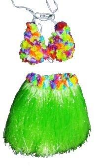Dokpikul-ชุดฮาวายดอกไม้ กระโปรงเชือกฟาง สีสันสดใส ขนาดฟรีไซค์ - สีเขียว
