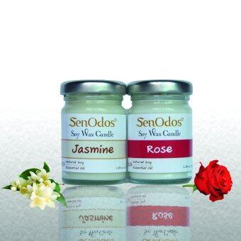SenOdos เทียนหอมระเหย อโรม่า กลิ่นดอกไม้ Romantic Floral Set 2 45g x2 กลิ่น (กลิ่นมะลิ, กลิ่นกุหลาบ)