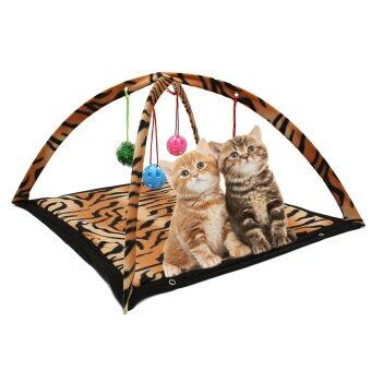 Harga Cat Toys Activity Tent Exercise & Stay Active Folding Bed With Hanging Ball Toy