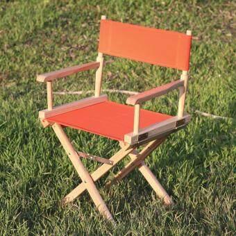 HPTJ เก้าอี้ไม้ เก้าอี้ผ้าใบ เก้าอี้ผู้กำกับ เก้าอี้พับได้ ผ้าใบสีส้ม