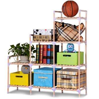 DIY Fashion Storage ชั้นวางของแฟชั่น อเนกประสงค์ 3 แถว 9 ช่อง - สีไม้