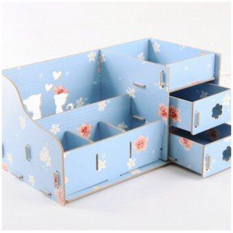 IdeaAye กล่องไม้ ใส่ของ ของจุกจิก เครื่องประดับ เครื่องสำอาง ลายแมว (สีฟ้าลายดอกไม้)
