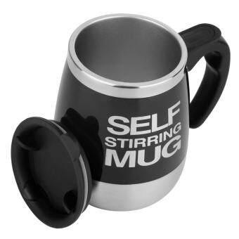 โอ้ 450 มล, สแตนเลสแก้วเหล้าผสมเองโดยอัตโนมัติคนถ้วยกาแฟชาบ้านสีดำ