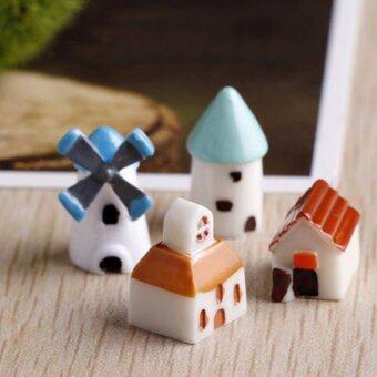 DIY ตุ๊กตาบ้านกังหันลม/ปราสาท/โบสถ์/บ้าน ตกแต่งสวนจิ๋วสวยๆ น่ารักๆ ( 1 Set 4 ชิ้น) Mini home
