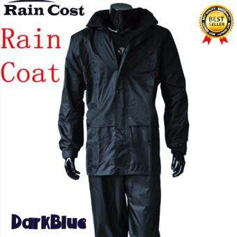 ชุดกันฝน เสื้อกันฝน มีแถบสะท้อนแสง เสื้อ+กางเกง+กระเป๋า (สีน้ำเงินเข้ม)