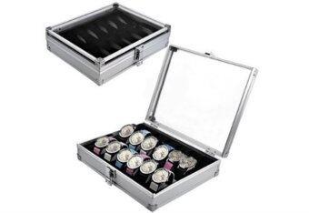 Cassablu กล่องเก็บนาฬิกาข้อมือ กล่องใส่นาฬิกาอลูมิเนียม 12 เรือน ฝากระจก กล่องใส่เครื่องประดับ