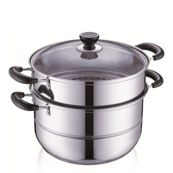 Harga Steamer pot Stainless steel Cooking pot 2 LAYER stew pot kitchenware cooker pots 28CM