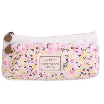 Harga Yingwei Pencil Box Zipper Pen Bags Floral Printing White