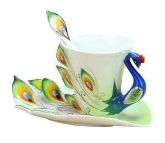 Leegoal กระเบื้องเคลือบกระเบื้องฝีมือมือแก้วชากาแฟถ้วยเซ็ตด้วยช้อน และถ้วย (สีเขียว 200 มล.) (ในประเทศ)