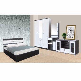 RF Furniture ชุดห้องนอนระแนงหลังเหล็ก รุ่น AMR P Set ขนาด 6 ฟุต เตียง 6 ฟุต + ตู้เสื้อผ้า 3 บาน + โต๊ะแป้ง 70 cm + ตู้วางทีวี ( สีโอ๊ค/ขาว )