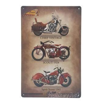 ป้ายสังกะสีวินเทจ Indian Motorcycle 3 Series