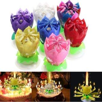 Harga Black Horse Lovely Musical Lotus Flower Rotating Happy Birthday Party Gift Candle Lights ?C purple