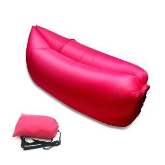 โซฟาลม ที่นอนเป่าลม ใช้ลมธรรมชาติ พร้อมถุงผ้า รุ่น Hangout Bed11 สีชมพู