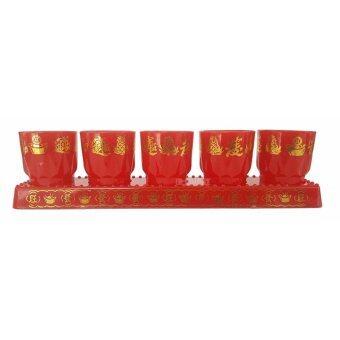 ชุดถ้วยน้ำชา 5 ใบ – สีแดงสด ทรงใหญ่ พิมพ์ลายมงคลทองเงา เกรดพรีเมี่ยม – By D-FRIDAY