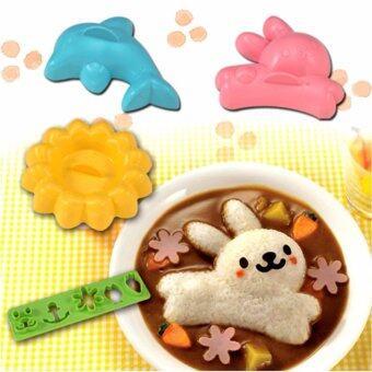 ชุดทำเบนโตะ ข้าวกล่อง สำหรับเด็ก รูปกระต่าย โลมา ดอกไม้ และตัวกดตัดเป็นรูปน่ารัก