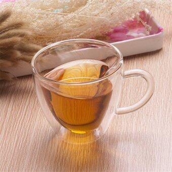 240 มล, ผนังสองชั้นรูปหัวใจรักความโปร่งใสถ้วยกาแฟถ้วยชาแก้วรัก