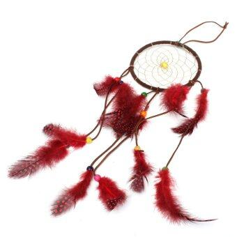 Harga 45mm Handmade Dream Catcher With Feathers Wall Hanging Decoration Ornament Gift Red (Intl)