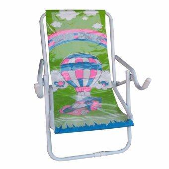 Grace Shop เก้าอี้นั่ง เก้าอี้นั่งเหล็กปรับนอน รุ่น พับได้ (สีขาว/ผ้าลายเขียว)