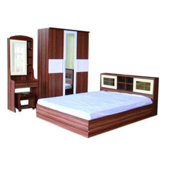 RF Furniture ชุดห้องนอนDD ขนาด 5 ฟุต เตียง 5 ฟุต + ตู้เสื้อผ้า 3 บาน + โต๊ะแป้ง 60 cm + ที่นอนสปริง ( สัก/ขาว )