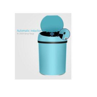 sayrung9shop ถังขยะอินฟราเรด เปิดปิดเองอัตโนมัติเพื่อความสะอาด สีน้ำเงิน