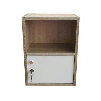 NK Furniline ตู้ล็อคเกอร์ รุ่น Box2-1DK ( สีขาว/ลายไม้แอส )