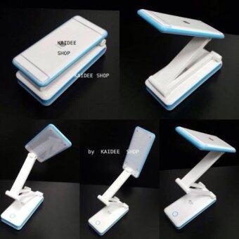 28 LED ไฟฉุกเฉิน ชนิดพกพา ชาร์จได้ หัวหมุนได้รอบทิศทาง ปรับสูง/ต่ำ ได้ (พับเก็บได้) สีขาว/ฟ้า