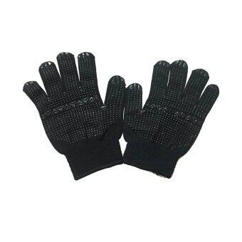 S-SHIR ถุงมือไนล่อนดำ-ดอทยางดำ (12 คู่/แพ็ค)