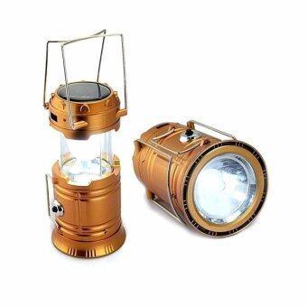 โคมไฟ, โคมไฟ, ไฟฉาย 6 + 1LED แสงอาทิตย์ทองแบบชาร์จ / 5W LED HL-5800T (ทอง)