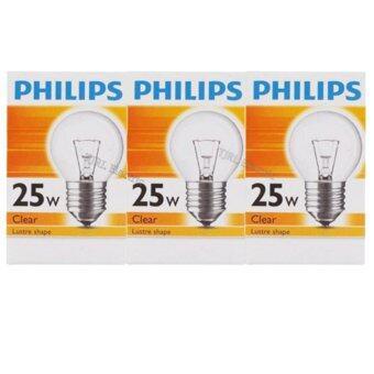 Philips แพ็คหลอดไส้ ทรงปิงปอง ใส 25W E27 x 3 ชิ้น