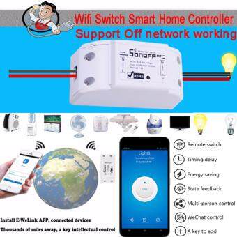 Harga DIY Sonoff WiFi Smart Plug Home Intelligent Outlet Switch Wireless Timer Power Socket Remote Control Turn on/off Household Appliances Via Smartphones Free App Anytime Anywhere - intl