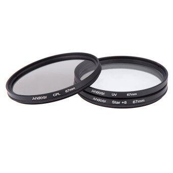 67มมกรองเซ็ต UV+CPL+ดาว 8 จุดชุดกรองกับเคสสำหรับ Canon Nikon Sony DSLR เลนส์กล้อง (สีดำ)