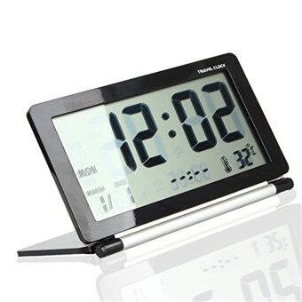 จอใหญ่จอดิจิตอลมัลติฟังก์ชั่แบบอิเล็กทรอนิกส์นาฬิกาปลุกท่องเที่ยวทัวร์ วันที่/เวลา/ปฏิทิน/แสดงอุณหภูมิ สัปหงก พับ (สีดำ+เงิน)