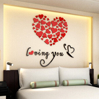 Lovely Mirror Hearts Home 3D Acrylic Wall Stickers Decor DIY Decal Removable Set Red - intl
