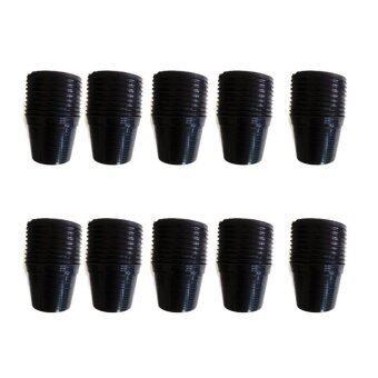 papamami Pots Round Black Plastic กระถางพลาสติกกลม 5.5 นิ้ว 10 ใบ (สีดำ)