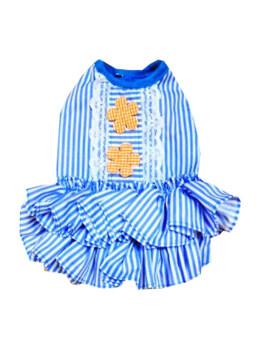 Dogacat เสื้อสุนัข เสื้อหมา เสื้อแมว ชุดเดรส สาบลูกไม้ ( สีฟ้า )
