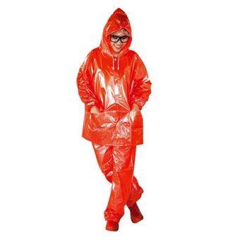 ชุดกันฝน เสื้อกันฝน กางเกงกันฝน ผ้ามุก ขนาดฟรีไซส์ (สีส้ม)