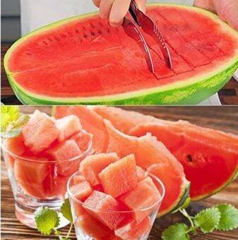KitchenMarks ที่หั่นแตงโม ที่หั่น คว้าน คีบ แตงโม เมลอน มีดตัดและคีบแตงโม (image 2)