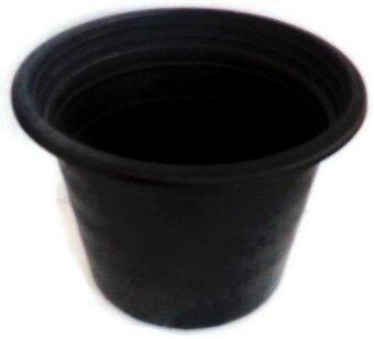 Papamami กระถางพลาสติกกลมสีดำ 17 นิ้ว