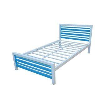 Asia เตียงเหล็กคอนโดสีทูโทน 3.5ฟุต ขา2นิ้ว (สีฟ้า-ขาว)