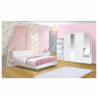 RF Furniture ชุดห้องนอนหัวเบาะ 6 ฟุต เตียง 6 ฟุต + ตู้เสื้อผ้า 3 บาน + โต๊ะแป้งยืน 60 cm + ชั้นวางหนังสือ 90 cm ( สี ขาว )