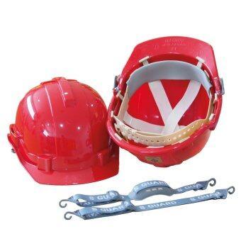 MAPLE หมวกเซฟตี้ ปรับเลื่อน ABS (สีแดง) + สายรัดคาง 2 เส้น + รองคาง 1 อัน